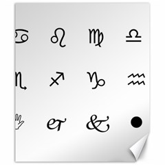 Set Of Black Web Dings On White Background Abstract Symbols Canvas 20  X 24   by Amaryn4rt