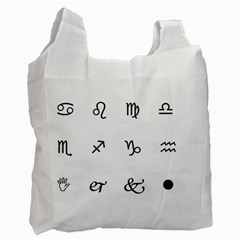 Set Of Black Web Dings On White Background Abstract Symbols Recycle Bag (one Side) by Amaryn4rt