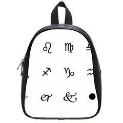 Set Of Black Web Dings On White Background Abstract Symbols School Bags (small)  by Amaryn4rt