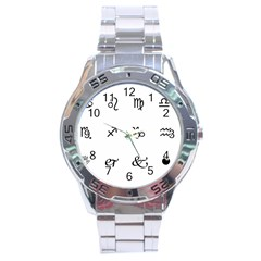 Set Of Black Web Dings On White Background Abstract Symbols Stainless Steel Analogue Watch by Amaryn4rt