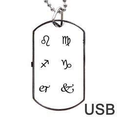 Set Of Black Web Dings On White Background Abstract Symbols Dog Tag Usb Flash (one Side) by Amaryn4rt