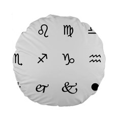 Set Of Black Web Dings On White Background Abstract Symbols Standard 15  Premium Round Cushions by Amaryn4rt
