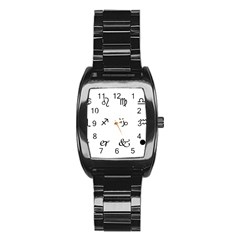 Set Of Black Web Dings On White Background Abstract Symbols Stainless Steel Barrel Watch by Amaryn4rt