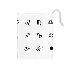 Set Of Black Web Dings On White Background Abstract Symbols Drawstring Pouches (medium)  by Amaryn4rt