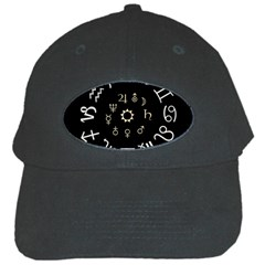 Astrology Chart With Signs And Symbols From The Zodiac Gold Colors Black Cap by Amaryn4rt