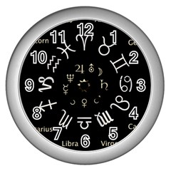 Astrology Chart With Signs And Symbols From The Zodiac Gold Colors Wall Clocks (silver)  by Amaryn4rt