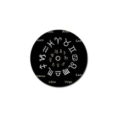 Astrology Chart With Signs And Symbols From The Zodiac Gold Colors Golf Ball Marker (10 Pack)