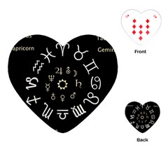 Astrology Chart With Signs And Symbols From The Zodiac Gold Colors Playing Cards (heart)  by Amaryn4rt