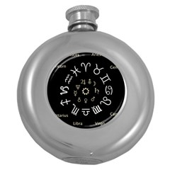 Astrology Chart With Signs And Symbols From The Zodiac Gold Colors Round Hip Flask (5 Oz) by Amaryn4rt
