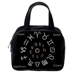 Astrology Chart With Signs And Symbols From The Zodiac Gold Colors Classic Handbags (one Side) by Amaryn4rt