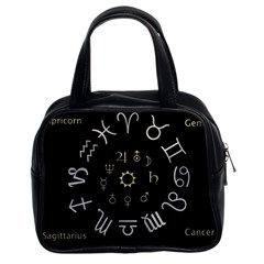 Astrology Chart With Signs And Symbols From The Zodiac Gold Colors Classic Handbags (2 Sides)