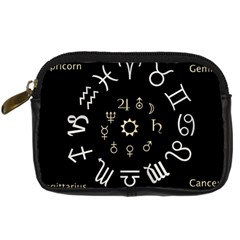 Astrology Chart With Signs And Symbols From The Zodiac Gold Colors Digital Camera Cases by Amaryn4rt