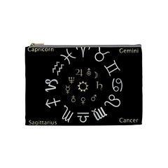 Astrology Chart With Signs And Symbols From The Zodiac Gold Colors Cosmetic Bag (medium)  by Amaryn4rt