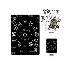 Astrology Chart With Signs And Symbols From The Zodiac Gold Colors Playing Cards 54 (mini)  by Amaryn4rt