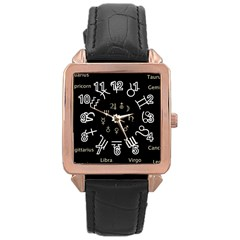 Astrology Chart With Signs And Symbols From The Zodiac Gold Colors Rose Gold Leather Watch  by Amaryn4rt
