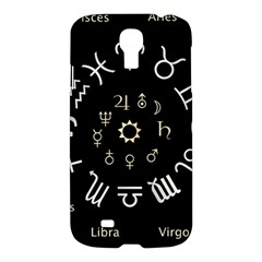 Astrology Chart With Signs And Symbols From The Zodiac Gold Colors Samsung Galaxy S4 I9500/i9505 Hardshell Case by Amaryn4rt