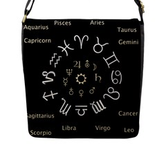 Astrology Chart With Signs And Symbols From The Zodiac Gold Colors Flap Messenger Bag (l)  by Amaryn4rt