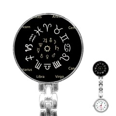 Astrology Chart With Signs And Symbols From The Zodiac Gold Colors Stainless Steel Nurses Watch by Amaryn4rt
