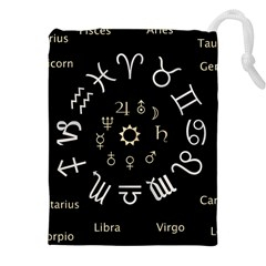 Astrology Chart With Signs And Symbols From The Zodiac Gold Colors Drawstring Pouches (xxl) by Amaryn4rt