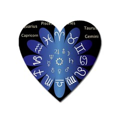 Astrology Birth Signs Chart Heart Magnet by Amaryn4rt