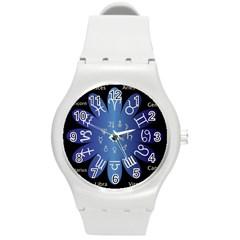 Astrology Birth Signs Chart Round Plastic Sport Watch (m) by Amaryn4rt