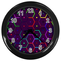 Color Bee Hive Pattern Wall Clocks (black) by Amaryn4rt