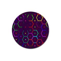 Color Bee Hive Pattern Magnet 3  (round) by Amaryn4rt