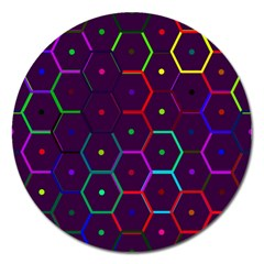 Color Bee Hive Pattern Magnet 5  (round) by Amaryn4rt