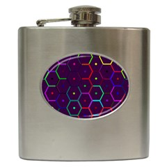 Color Bee Hive Pattern Hip Flask (6 Oz) by Amaryn4rt