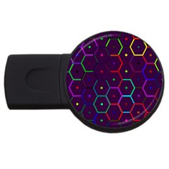 Color Bee Hive Pattern Usb Flash Drive Round (2 Gb) by Amaryn4rt