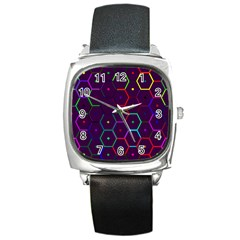 Color Bee Hive Pattern Square Metal Watch by Amaryn4rt