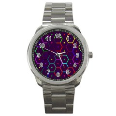 Color Bee Hive Pattern Sport Metal Watch by Amaryn4rt