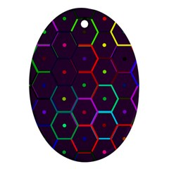 Color Bee Hive Pattern Oval Ornament (two Sides) by Amaryn4rt
