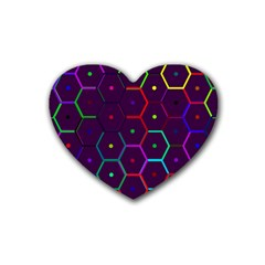 Color Bee Hive Pattern Rubber Coaster (heart)  by Amaryn4rt