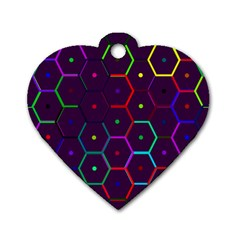 Color Bee Hive Pattern Dog Tag Heart (one Side) by Amaryn4rt