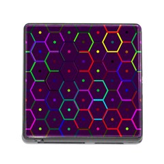 Color Bee Hive Pattern Memory Card Reader (square) by Amaryn4rt