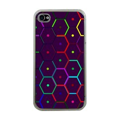 Color Bee Hive Pattern Apple Iphone 4 Case (clear) by Amaryn4rt
