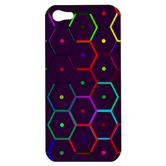 Color Bee Hive Pattern Apple Iphone 5 Hardshell Case by Amaryn4rt