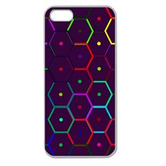 Color Bee Hive Pattern Apple Seamless Iphone 5 Case (clear) by Amaryn4rt