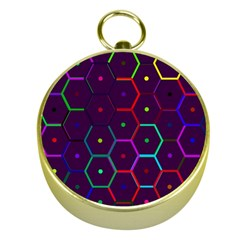 Color Bee Hive Pattern Gold Compasses by Amaryn4rt