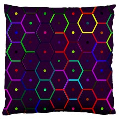 Color Bee Hive Pattern Large Flano Cushion Case (one Side) by Amaryn4rt
