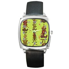 Set Of Monetary Symbols Square Metal Watch by Amaryn4rt