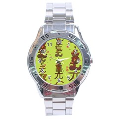 Set Of Monetary Symbols Stainless Steel Analogue Watch by Amaryn4rt