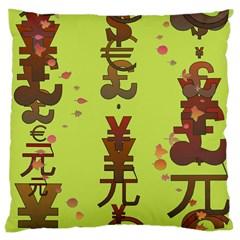 Set Of Monetary Symbols Large Cushion Case (two Sides) by Amaryn4rt
