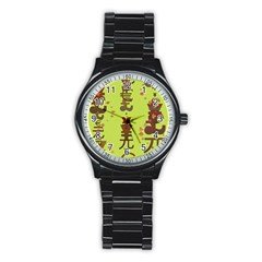 Set Of Monetary Symbols Stainless Steel Round Watch by Amaryn4rt