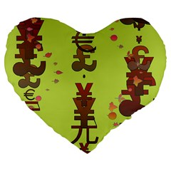 Set Of Monetary Symbols Large 19  Premium Flano Heart Shape Cushions by Amaryn4rt