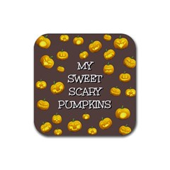 Scary Sweet Funny Cute Pumpkins Hallowen Ecard Rubber Square Coaster (4 Pack)  by Amaryn4rt