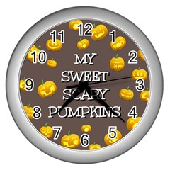 Scary Sweet Funny Cute Pumpkins Hallowen Ecard Wall Clocks (silver)  by Amaryn4rt