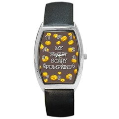 Scary Sweet Funny Cute Pumpkins Hallowen Ecard Barrel Style Metal Watch by Amaryn4rt