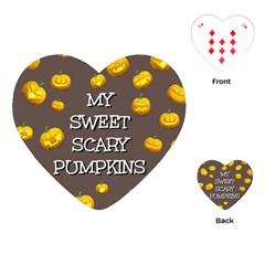 Scary Sweet Funny Cute Pumpkins Hallowen Ecard Playing Cards (heart)  by Amaryn4rt